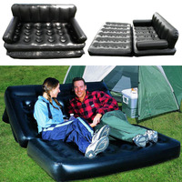 Foldable Inflatable Sofa Leather Folding Wear resistant Home Furniture Sofa Bedroom Portable Camping Bed for 2 Person