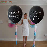 1lot 36 inch große größe Wir sind mit einer... Geschlecht Offenbaren latex luftballons blau rosa Konfetti Latex air Ballon für baby dusche