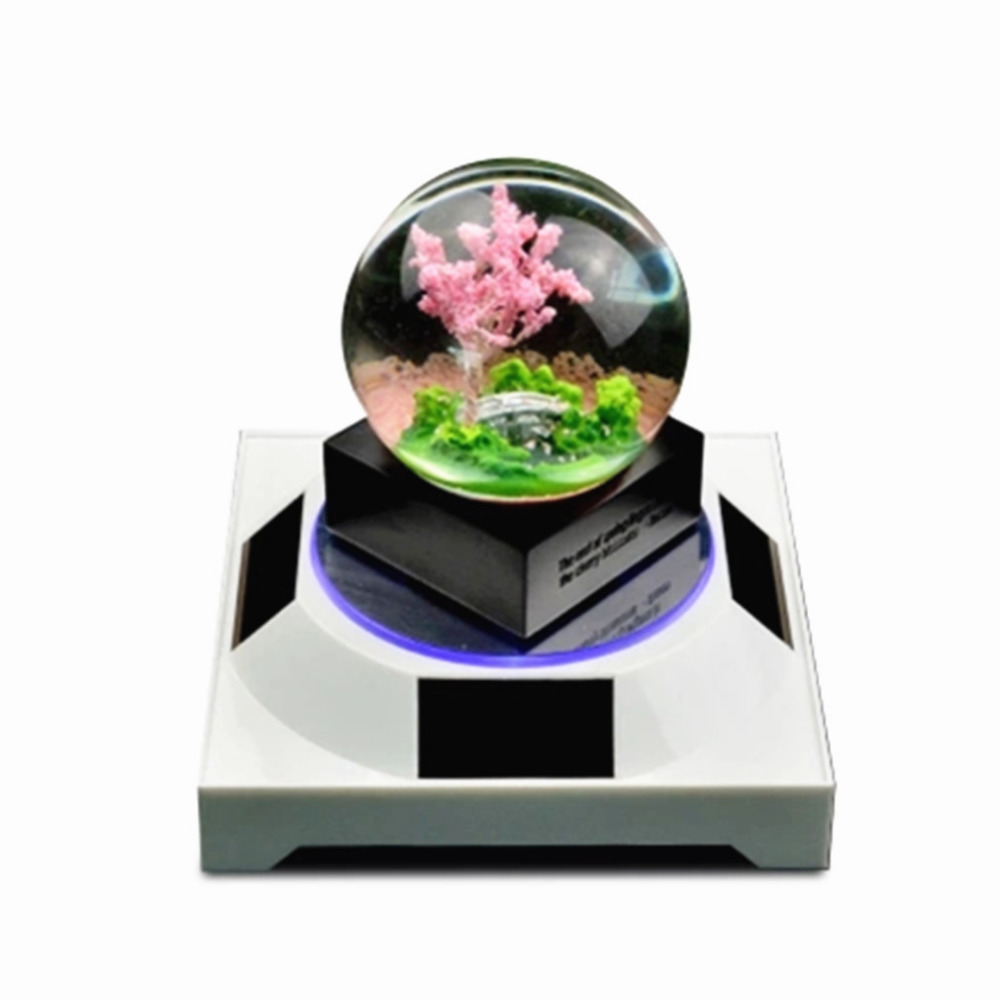 18cm Mirror Top Solar Powered Display Stand Turntable Frame Shows The Turntable Jewelry Jade Phone Watch Glasses Accessories
