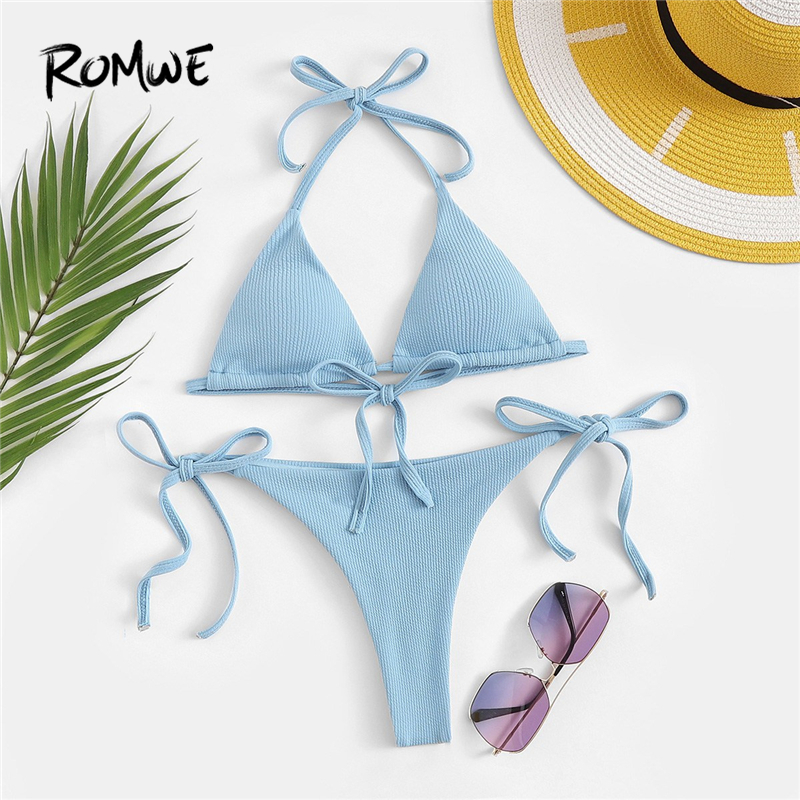 e8481d76681 Romwe Sport Blue Solid Rib Halter Top With Tie Side Triangle Panties Bikinis  Sets Women Summer