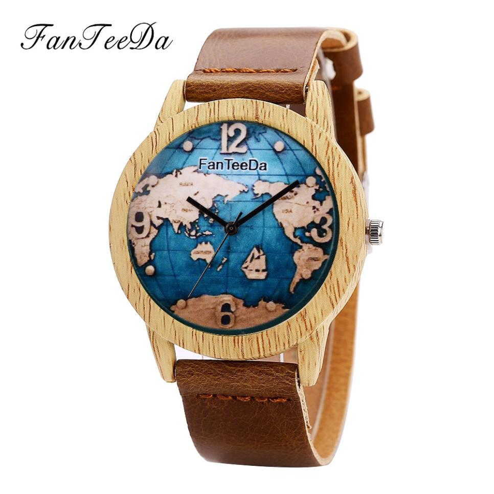 Wooden Watch Women Quartz Map-Design Creative Analog Personality Luxury Fashion for Band