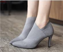 Women Shoes Slip-On Retro High Heel Ankle Boot Elegant Cusp England Casual Short Boots Female Pointed Toe Stiletto Shoe(China)