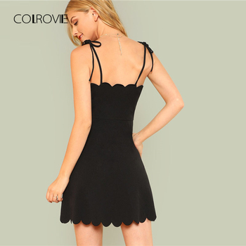 COLROVIE 2018 Fit & Flare Scalloped Bow Tied Cami Dress Summer Spaghetti Strap Sleeveless Female Dress Black Zipper Short Dress 1