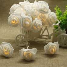 3M 20 LED Fairy String Light Battery Operated Rose Flower Wedding Party Valentines Day Garland Christmas Decoration