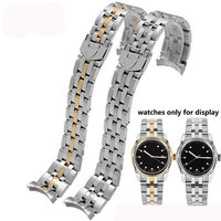 Quality stainless steel watchband 20mm 21mm silver and gold meta lbracelet deployment buckle men's replacement strap