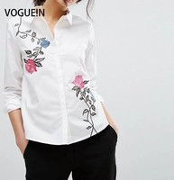 VOGUE N New Womens Solid White Floral Embroidered Long Sleeve Blouse Tops Shirt Size SML Wholesale