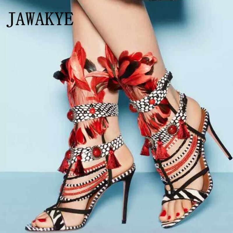 Sandalias Bohemias de moda tribal de verano con plumas rayas de cebra con flecos y cuentas, sandalias sexis de tacón alto para fiesta, zapatos para mujer