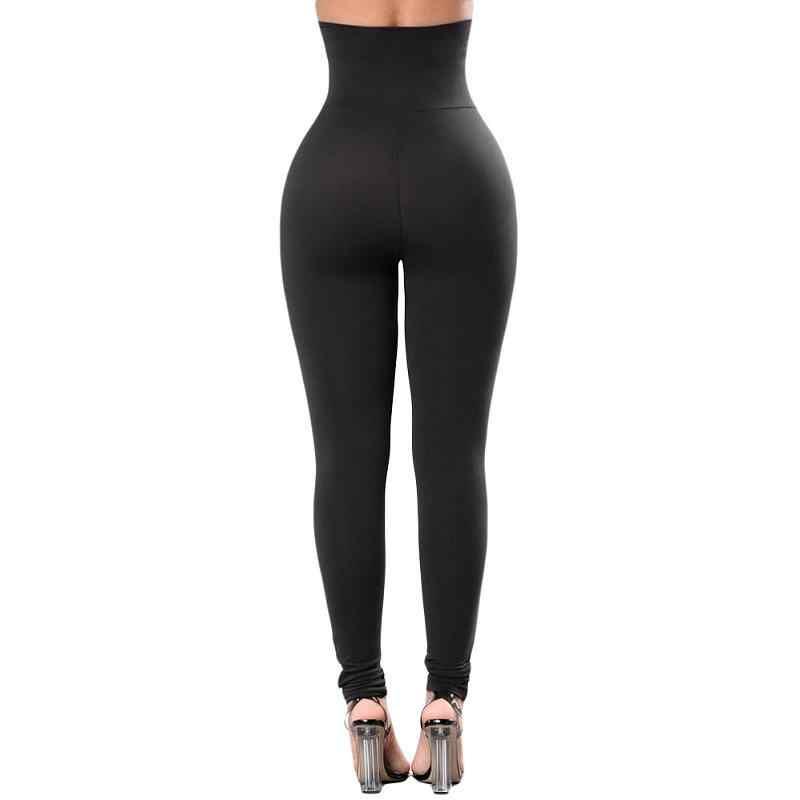 83d2ee02e24c7 ... ADEWEL Casual Sexy Women's Black Soft High Waist Legging Female Slim  Gym Long Pant Elastic Fitness ...