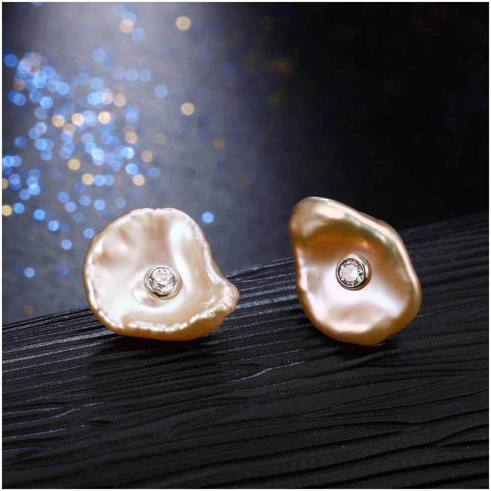 Hongye Nyata Alam Mutiara Air Tawar Datar Baroque 925 Sterling Silver - Perhiasan bagus - Foto 2