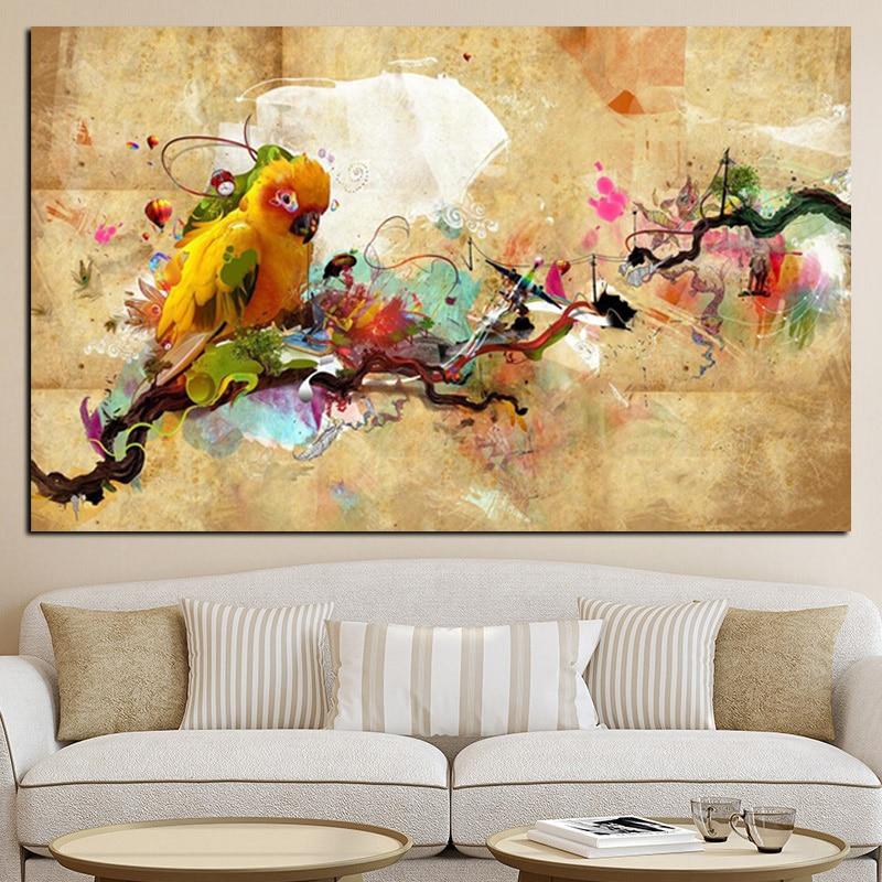 Soyut Sanatsal Boya Papağan Kuş Yağlıboya Tuval Poster ve Baskı - Ev Dekoru - Fotoğraf 2