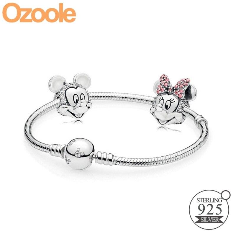 Authentique 925 argent Sterling Mickey Minnie clair CZ fermoir charmes bracelet Fit Pandora européen Original Bracelets bijoux cadeau