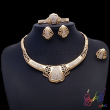 round shape gold temple jewellery green enamel jewelry set big africa costume jewelry sets