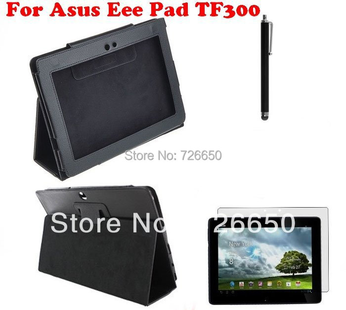 For Asus Eee Pad Transformer TF300/TF300T New PU Leather Cover Case Stand Black+Screen Guard+Stylus Pen protective pu leather case for asus eee pad transformer tf101 black