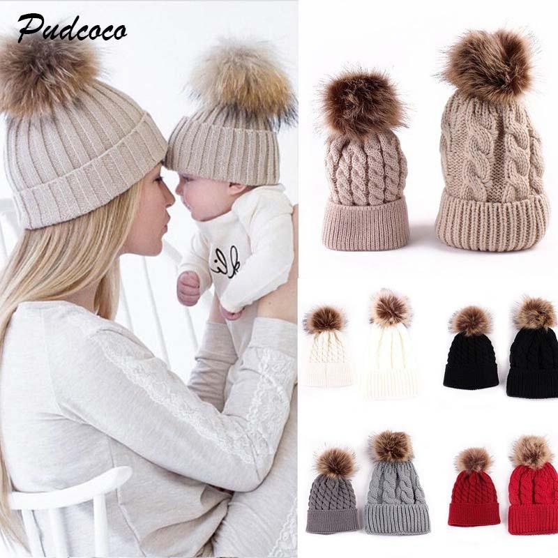 2018 New Women Mom Baby Girls Boys Knit Wool Pom Bobble Hat Winter Faux Fur  Warm a1c1e3a9a68