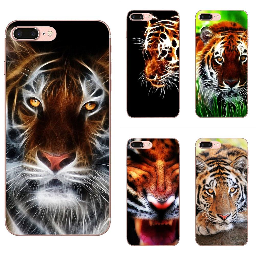 Soft Silicone TPU Transparent Covers For Apple iPhone X XS Max XR 4 4S 5 5C 5S SE 6 6S 7 8 Plus Tiger Wallpaper Novelty Fundas image