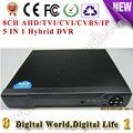 8CH AHD/TVI/CVI/CVBS/IP gravador de vídeo Digital DVR HVR NVR AHD 1080NH, apoio cctv analógico/ahd/cvi/tvi/1080 p Câmera ip onvif