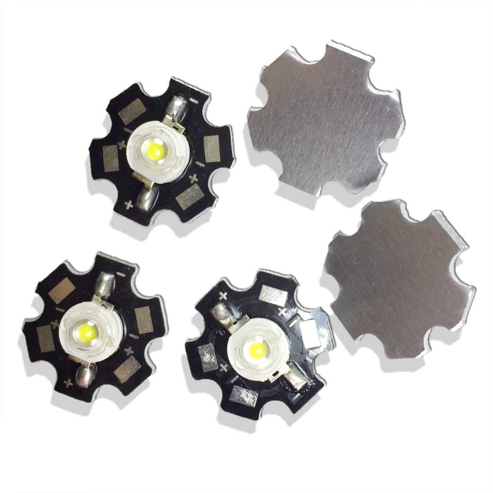 10PCS/LOT 1W high power white LED light-emitting diode lamp beads with aluminum plate fins 110-130 LM ( lumens ) for DIY lights10PCS/LOT 1W high power white LED light-emitting diode lamp beads with aluminum plate fins 110-130 LM ( lumens ) for DIY lights