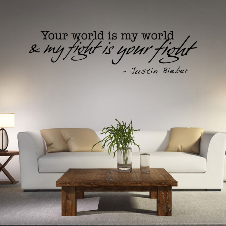 Great Aliexpress.com : Buy Your World Is My World My Fight Is Your Fight Justin  Bieber Wall Stickers Quote Justin Bieberu0027s Words Poster Home Decor Wall Art  From ... Part 8