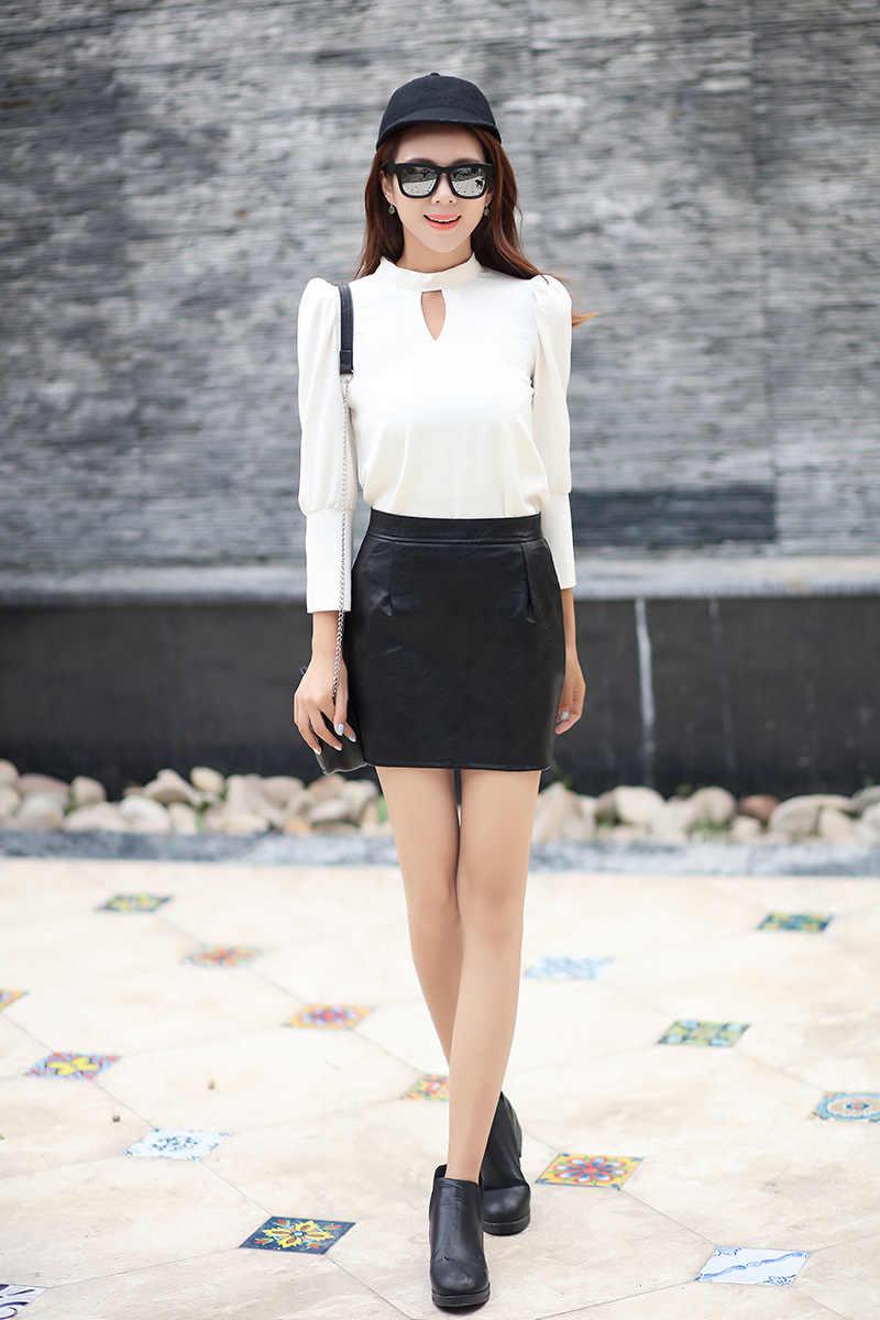 Wanita Tinggi Pinggang Slim Rok PU Faux Kulit Pendek Rok Seksi Pensil Bodycon Wanita Rok Mini Trendi Kantor Wanita Clubwear