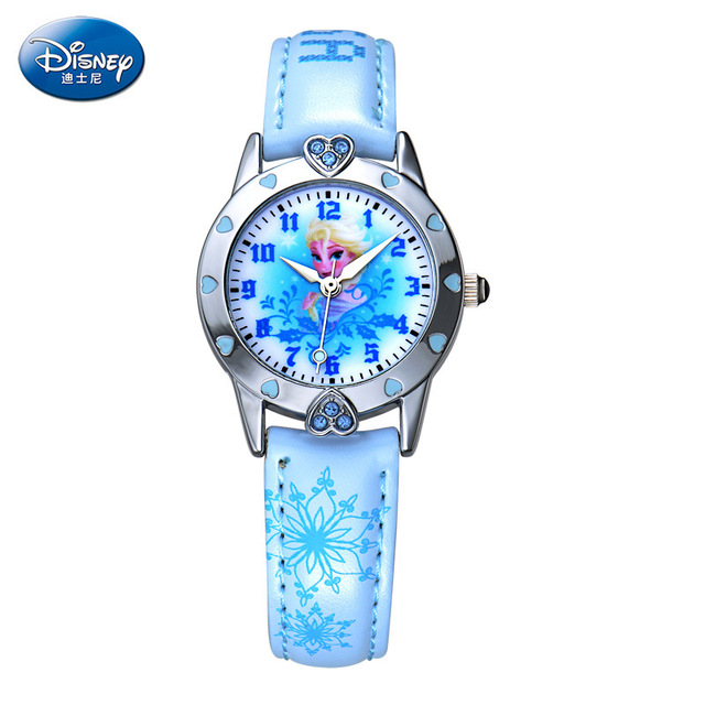 Children girl wristwatches Disney brands Frozen cartoon Leather kids girls watch waterproof  quartz watches relogio