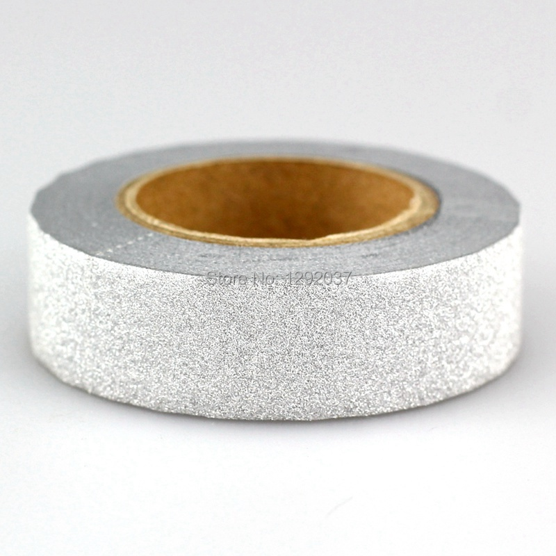 1PCS 15mm*10m Shiny Silver Glitter Tapes Decorative Washi Tape Paper DIY Scrapbooking Adhesive Tapes For Photo Album Stationery