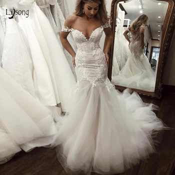 Sexy Unique Lace Mermaid Wedding Dresses 2019 Deep V-neck Off The Shoulder Wedding Gowns See Thru Bridal Gowns Robe De Mariee - DISCOUNT ITEM  6% OFF All Category