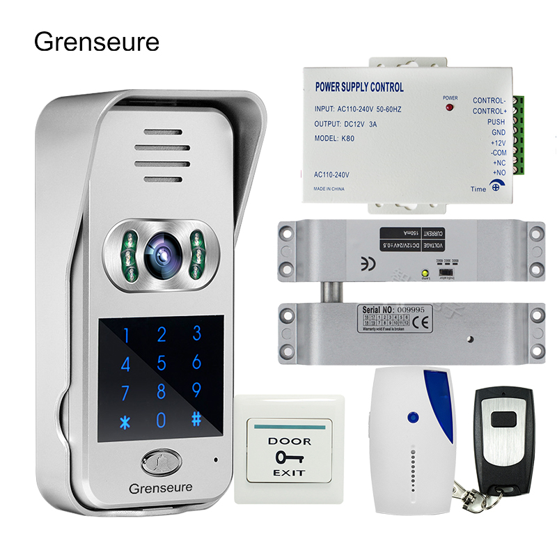 Free Shipping Code Keypad Wireless Wifi RJ45 720P Video Intercom for Phone Remote View Unlock Electric Drop Bolt lock + 8G TF free shipping new code keypad wireless wifi 720p waterproof video intercom for android ios 180kg electric magnetic lock 8g tf