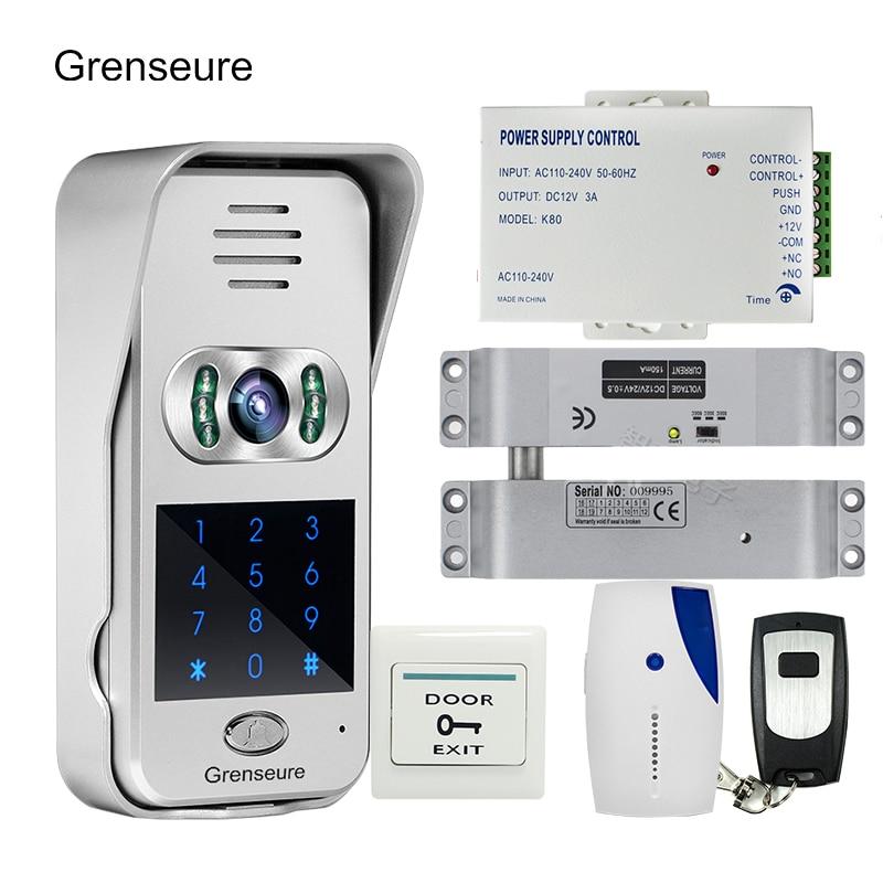 Free Shipping Code Keypad Wireless Wifi RJ45 720P Video Intercom for Phone Remote View Unlock Electric Drop Bolt lock + 8G TF