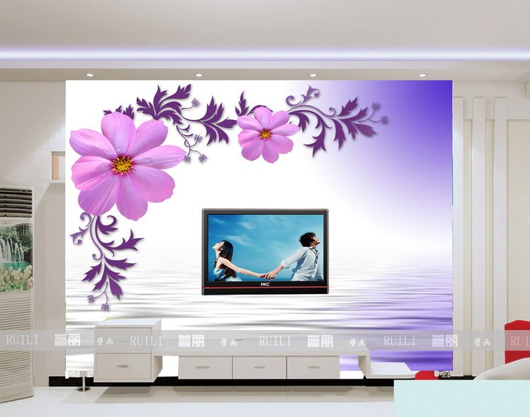 Art wall stickers mural rowland purple 3d three for 3 dimensional wallpaper