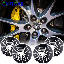Car Styling 4PCS 56mm Aluminium Wheel Hub Center Caps Emblem Sticker Spider Logo Emblem Badge Auto 3D Metal Decals Accessories цена