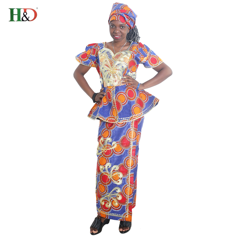 African New Design Bazin Embroidery Dresses Short Rapper With Scarf Three Pcs One Set Africa Ensemble Femme Africano Vestidos
