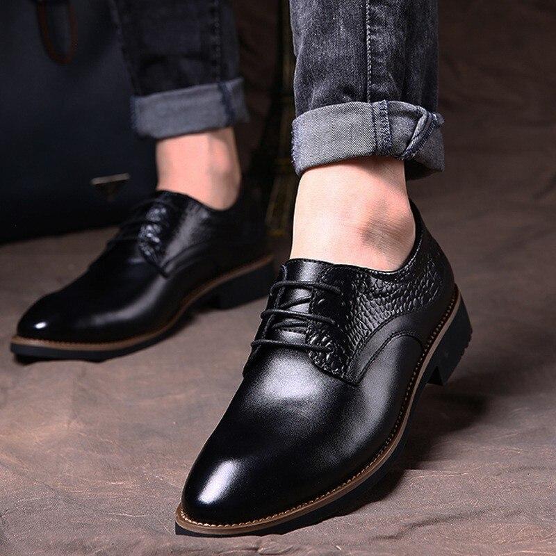 Partie Respirant Aa10036 De Cuir Hommes Pointu Noir Bout Appartements Véritable Automne Formelle Mariage Chaussures Printemps marron Entreprise 4Cw6qRYAY