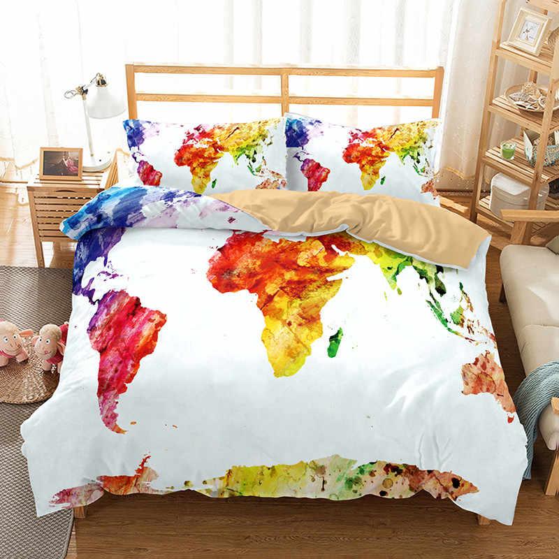 Yi Чу xin 3d Карта мира постельного белья king size постельное белье с наволочкой постельное белье twin bedline