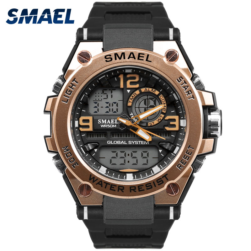 Men Watches LED SMAEL Clock Men Alarm Automatic Digital Casual Gold Relogio Masculino Big Watch Hot1603 Sport Watch Water Resist