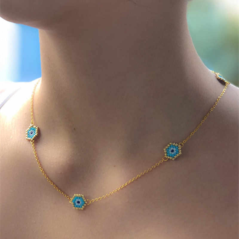 Go2boho MIYUKI Necklaces Turkish Evil Eye Choker Insta Fashion Necklace Gold Chain 2019 Women New Kolye Jewelry Handmade Gift
