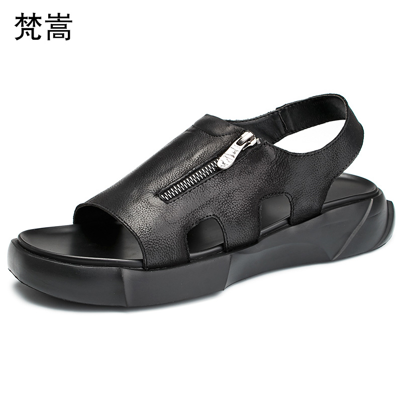 Thick-bottomed roman sandals mens High Quality Genuine Leather outdoor breathable high zipper designers cowhide