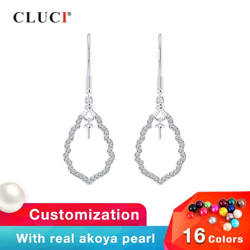 CLUCI Silver 925 Zircon Earrings For Women Engagement Pearl Mounting Jewelry 925 Sterling Silver Water Drop EarringsCLUCI Silver 925 Zircon Earrings For Women Engagement Pearl Mounting Jewelry 925 Sterling Silver Water Drop Earrings
