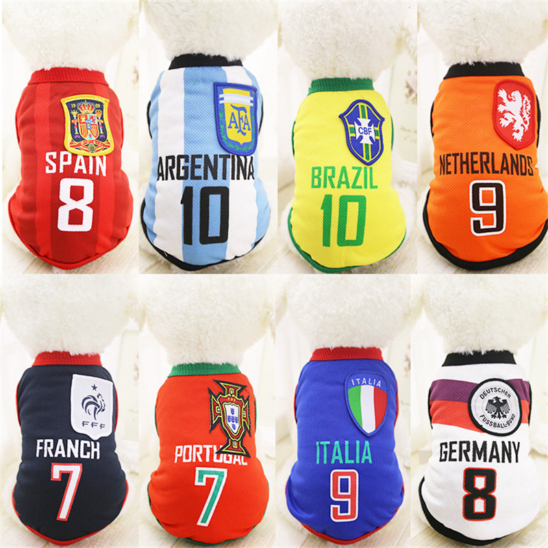 2018 Spring Summer T Shirt Dog Clothes for Samll Dogs Pet World Cup Sports Vest Hoodie for Small Dogs Cats(China)