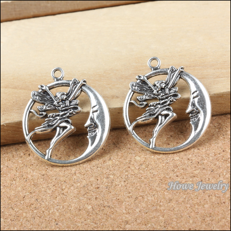 "60PCS New   ""a angel flying to the moon"" round 3Dcharm pendant Tibetan silver fits for  European Bracelet DIY jewelry 20130"