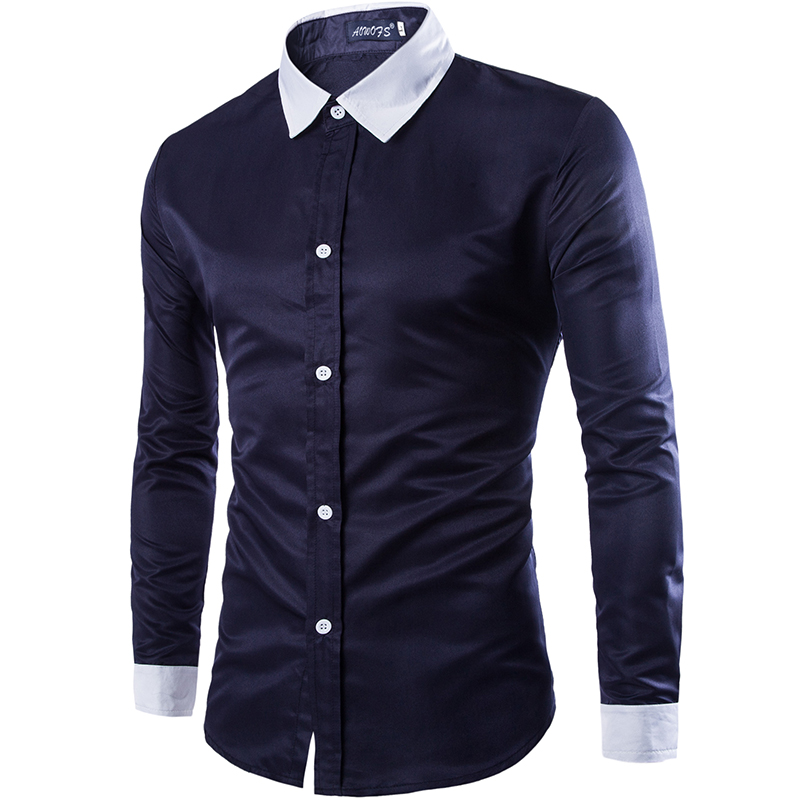Mens Stitching Color Short Sleeve Leisure and Fashion Button Down Shirt