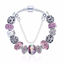 New Fashion Jewelry Crystal Charms Bracelets & Bangles Butterfly beads fit P Bracelet For Women Girl Love Gift