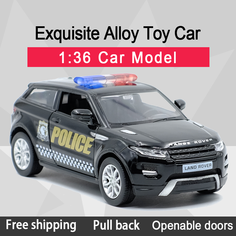 RMZ CITY 1:36 Evoque SUV Police Toy Car Alloy Diecast Car Model Toy With Pull Back For Children Gifts Toy Collection