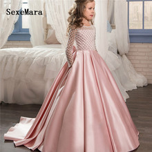 Pink Long Sleeve Flower Girl Dresses Ball Gowns O-neck with Bow Satin Sequins Girls Customized First Communion Dresses Vestidos lovely flower girl dresses 2019 o neck ball gown big bow appliques long little pageant gowns girls first communion gowns cheap