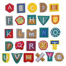 1PC New Arrival Rainbow Arial English Alphabet Letteres Mixed Embroidered Iron on Patches Sew Bagde for Clothes Bag