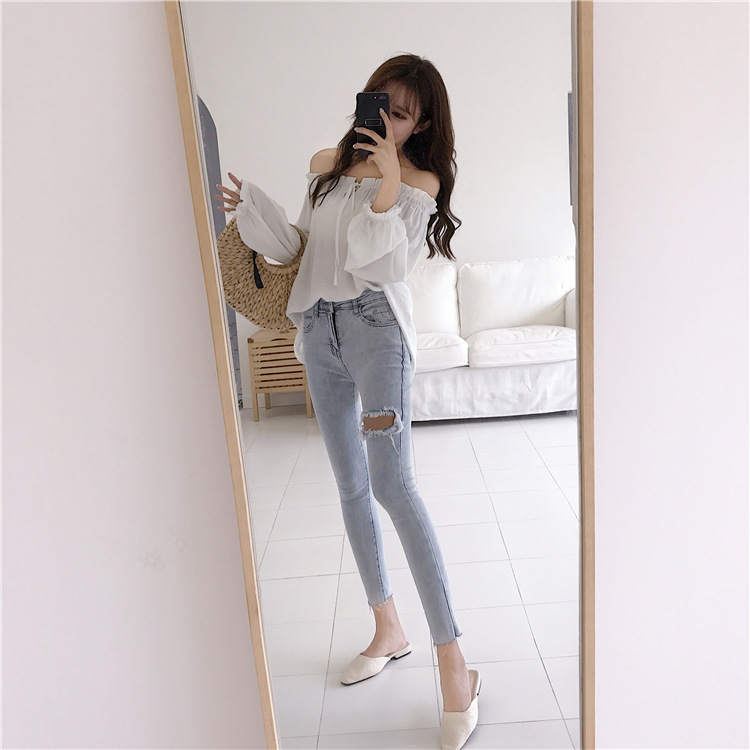 2018 Summer New Women Sexy Word Collar Chic Lace Shirt Meticulous Dyeing Processes Blouses & Shirts