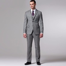 MD-541 Gray Groom Suit Custom Made Grey Two-Toned Woven Wedding Suits For Men Bespoke Vintage Tuxedo Men Suits
