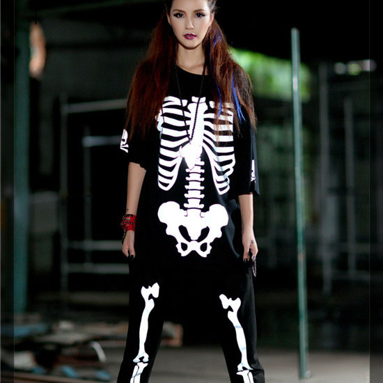 Funny 2015 Fashion Hip Hop Dance Clothing Women Skeleton T ...