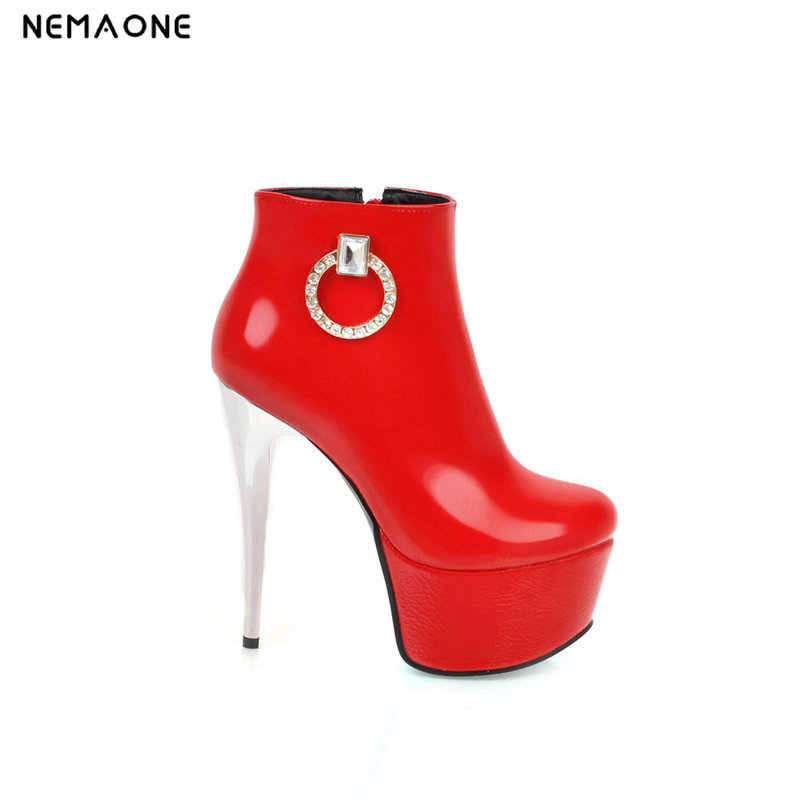 NEMAONE New 14cm super high heels ankle boots wedding woman autumn winter boots wedding shoes woman large size 41 42 43NEMAONE New 14cm super high heels ankle boots wedding woman autumn winter boots wedding shoes woman large size 41 42 43