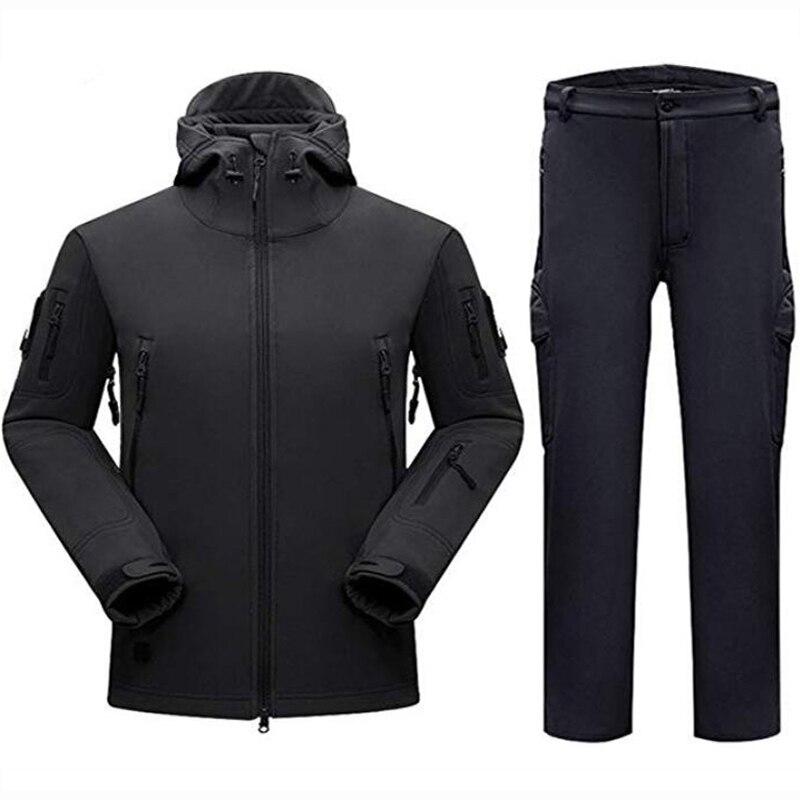 Softshell tad conjuntos tático dos homens ao ar livre caminhadas roupas militar caça camuflagem terno acampamento à prova dwaterproof água com capuz jaqueta + calças