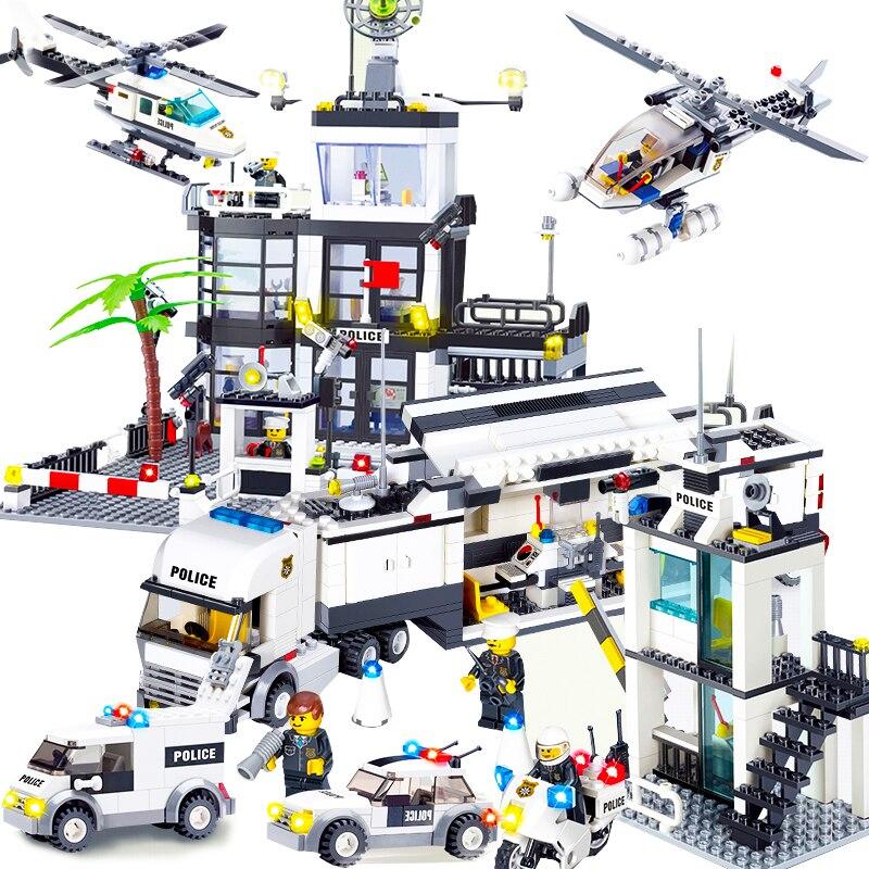 Kids Toys City Street Police Station Sets Cars Trucks Compatible Model Building Kits Blocks Cops Vehicle Boats Bricks